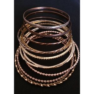 Vintage Lot of stackable gold and silver bangles